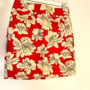 Ann Taylor Floral Skirt Faux Front Pockets Size 2